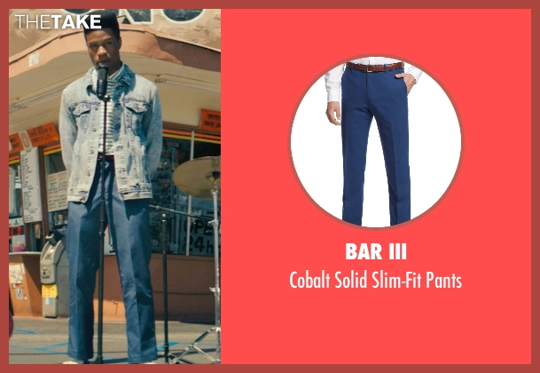 Bar III blue pants from Dope seen with Shameik Moore (Malcolm)