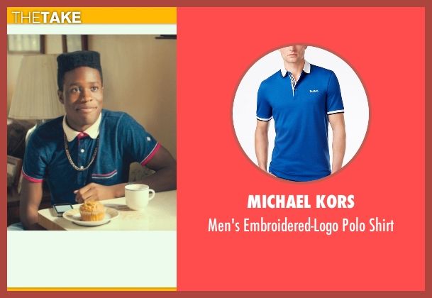 Michael Kors blue shirt from Dope seen with Shameik Moore (Malcolm)