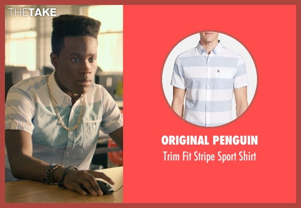 Original Penguin blue shirt from Dope seen with Shameik Moore (Malcolm)