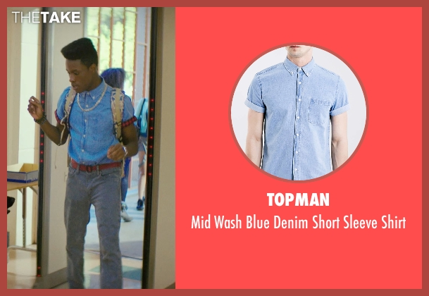 Topman blue shirt from Dope seen with Shameik Moore (Malcolm)