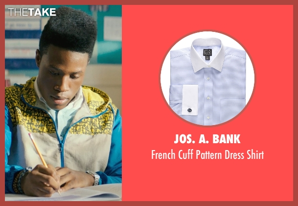 Jos. A. Bank blue shirt from Dope seen with Shameik Moore (Malcolm)