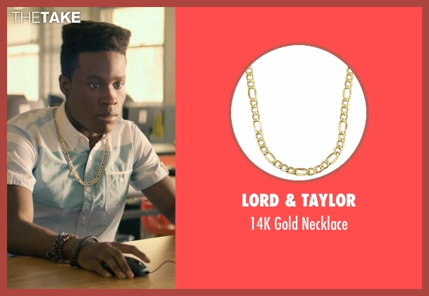 Lord & Taylor gold necklace from Dope seen with Shameik Moore (Malcolm)