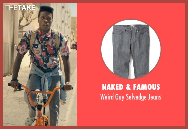 Naked & Famous gray jeans from Dope seen with Shameik Moore (Malcolm)