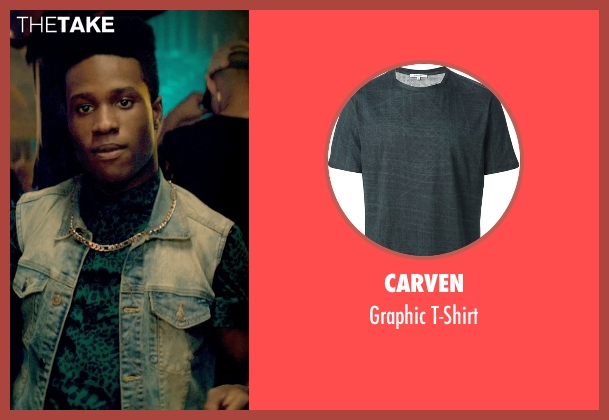 Carven green t-shirt from Dope seen with Shameik Moore (Malcolm)