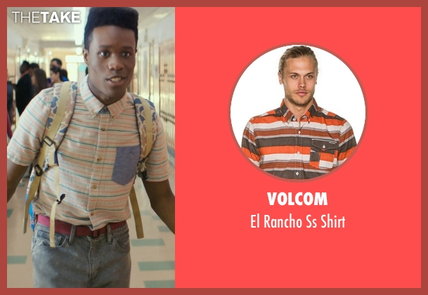 Volcom orange shirt from Dope seen with Shameik Moore (Malcolm)