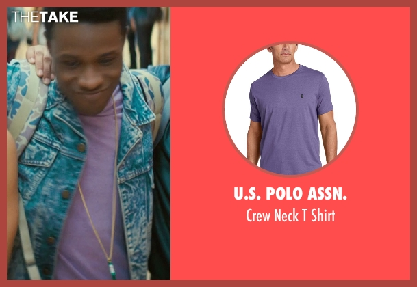 U.S. Polo Assn. purple shirt from Dope seen with Shameik Moore (Malcolm)