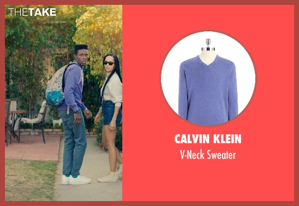 Calvin Klein purple sweater from Dope seen with Shameik Moore (Malcolm)