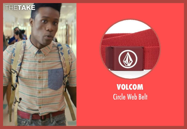 Volcom red belt from Dope seen with Shameik Moore (Malcolm)