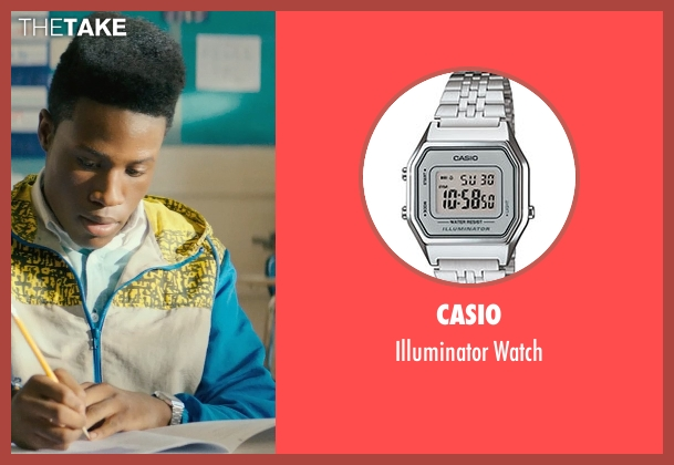 Casio silver watch from Dope seen with Shameik Moore (Malcolm)
