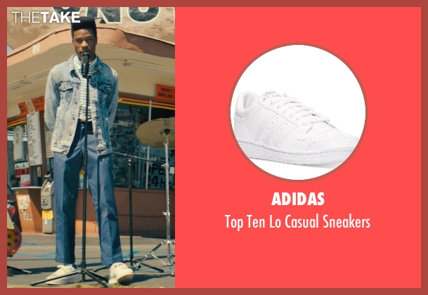 Adidas white sneakers from Dope seen with Shameik Moore (Malcolm)