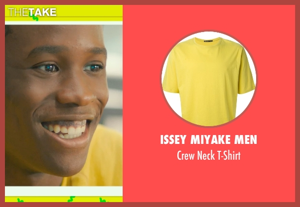 Issey Miyake Men yellow t-shirt from Dope seen with Shameik Moore (Malcolm)