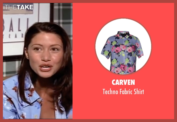 Carven purple shirt from American Pie seen with Shannon Elizabeth (Nadia)