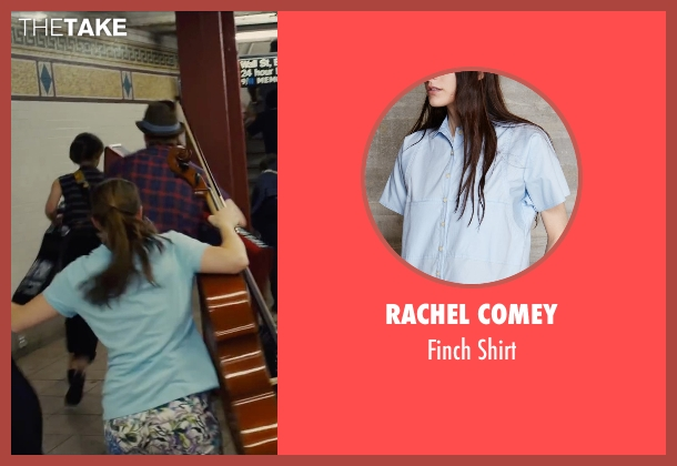 Rachel Comey blue shirt from Begin Again seen with Shannon Maree Walsh (Rachel)