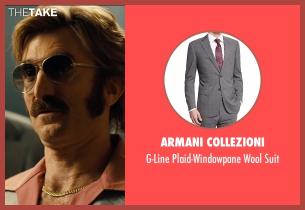 Armani Collezioni gray suit from Free Fire seen with Sharlto Copley (Vernon)