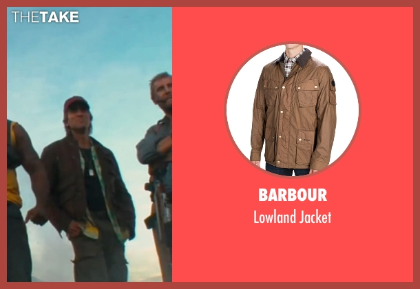 Barbour brown jacket from The A-Team seen with Sharlto Copley (Murdock)