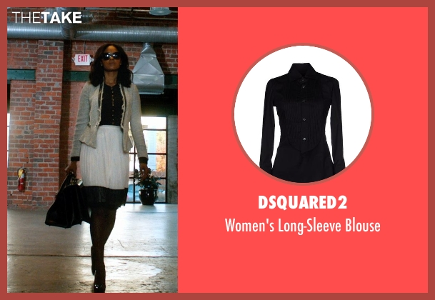 Dsquared2 black blouse from Addicted seen with Sharon Leal (Zoe Reynard)