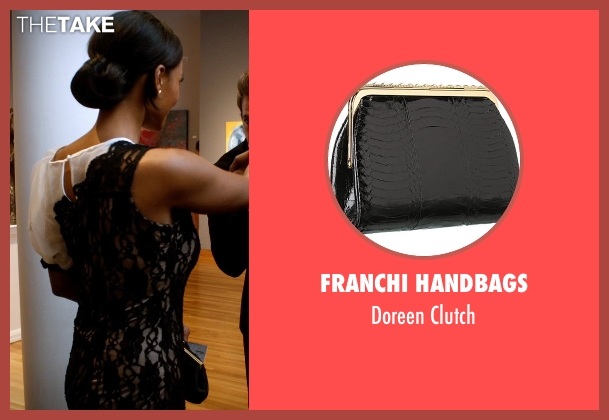 Franchi Handbags black clutch from Addicted seen with Sharon Leal (Zoe Reynard)