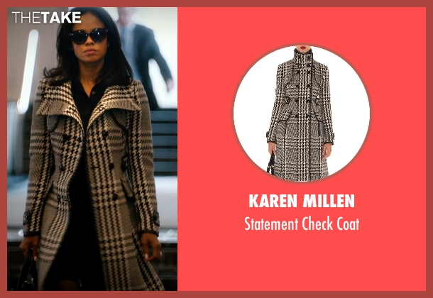 Karen Millen black coat from Addicted seen with Sharon Leal (Zoe Reynard)
