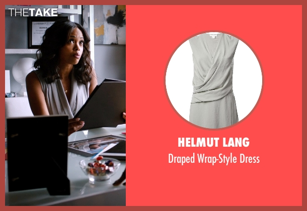 Helmut Lang gray dress from Addicted seen with Sharon Leal (Zoe Reynard)