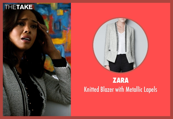 Zara gray lapels from Addicted seen with Sharon Leal (Zoe Reynard)