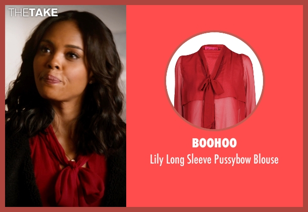 Boohoo red blouse from Addicted seen with Sharon Leal (Zoe Reynard)