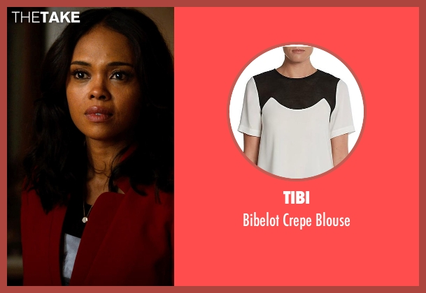 Tibi white blouse from Addicted seen with Sharon Leal (Zoe Reynard)