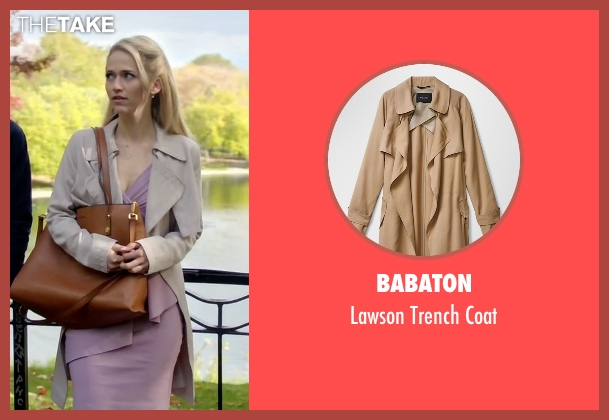 Babaton beige coat from Quantico seen with Shelby Wyatt (Johanna Braddy)