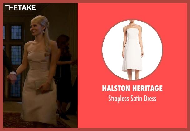 Halston Heritage beige dress from Quantico seen with Shelby Wyatt (Johanna Braddy)