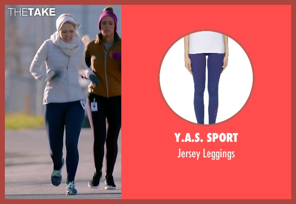 Y.A.S. Sport blue leggings from Quantico seen with Shelby Wyatt (Johanna Braddy)