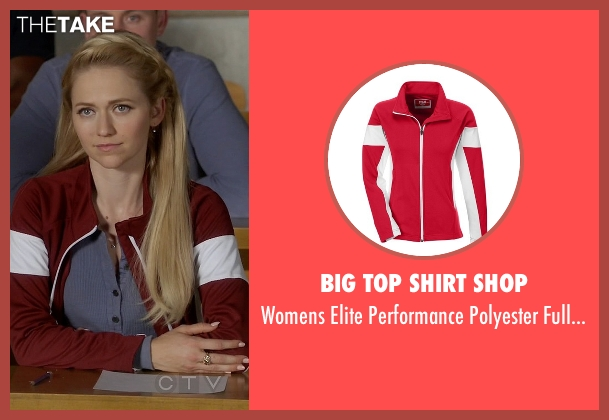 Big Top Shirt Shop red jacket from Quantico seen with Shelby Wyatt (Johanna Braddy)