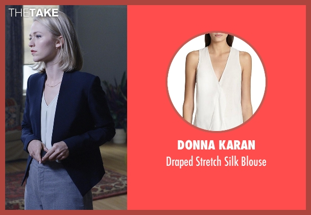 Donna Karan white blouse from Quantico seen with Shelby Wyatt (Johanna Braddy)