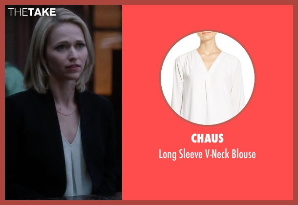 Chaus white blouse from Quantico seen with Shelby Wyatt (Johanna Braddy)