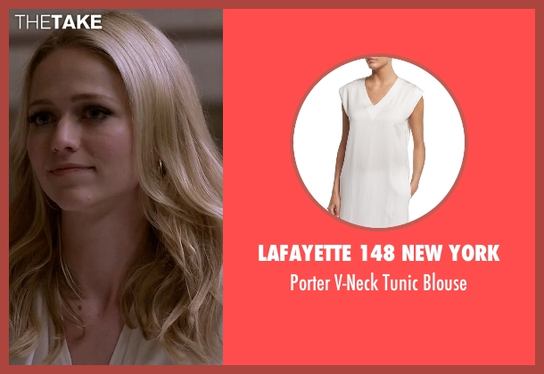 Lafayette 148 New York white blouse from Quantico seen with Shelby Wyatt (Johanna Braddy)