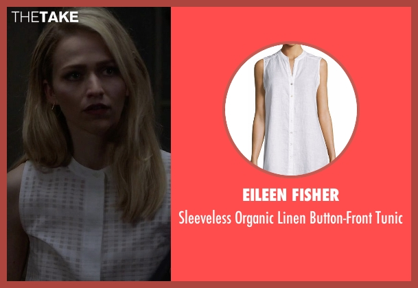 Eileen Fisher white tunic from Quantico seen with Shelby Wyatt (Johanna Braddy)
