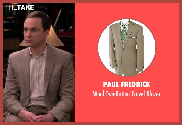 Paul Fredrick beige blazer from The Big Bang Theory seen with Sheldon Cooper (Jim Parsons)