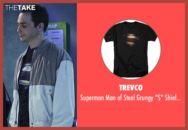 Trevco black t-shirt from The Big Bang Theory seen with Sheldon Cooper (Jim Parsons)
