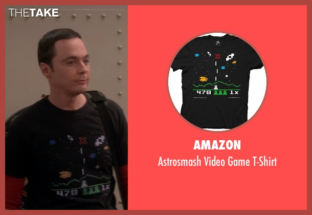 Amazon black t-shirt from The Big Bang Theory seen with Sheldon Cooper (Jim Parsons)