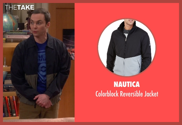 Nautica blue jacket from The Big Bang Theory seen with Sheldon Cooper (Jim Parsons)