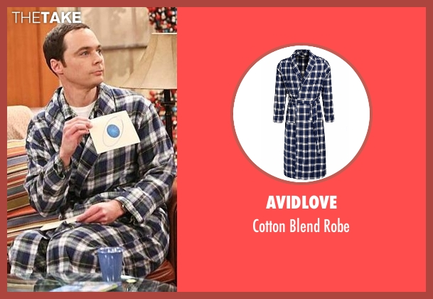 Avidlove blue robe from The Big Bang Theory seen with Sheldon Cooper (Jim Parsons)