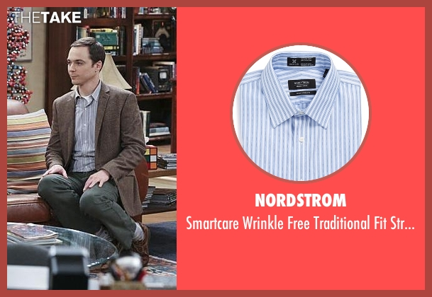 Nordstrom blue shirt from The Big Bang Theory seen with Sheldon Cooper (Jim Parsons)