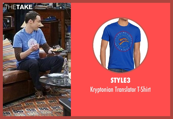 Style3 blue t-shirt from The Big Bang Theory seen with Sheldon Cooper (Jim Parsons)