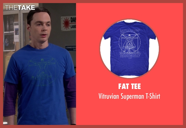 Fat Tee blue t-shirt from The Big Bang Theory seen with Sheldon Cooper (Jim Parsons)