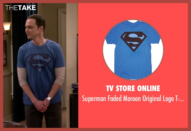 TV Store Online blue t-shirt from The Big Bang Theory seen with Sheldon Cooper (Jim Parsons)