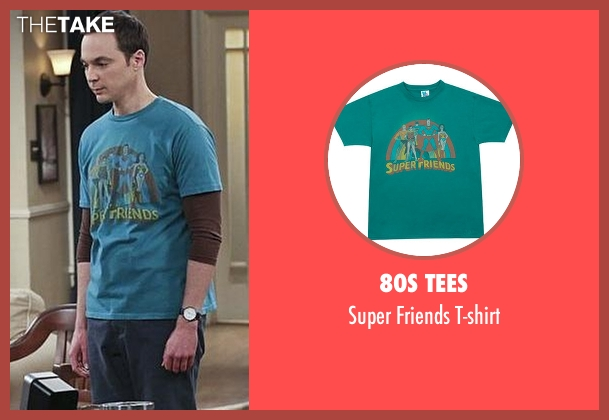80s Tees blue t-shirt from The Big Bang Theory seen with Sheldon Cooper (Jim Parsons)