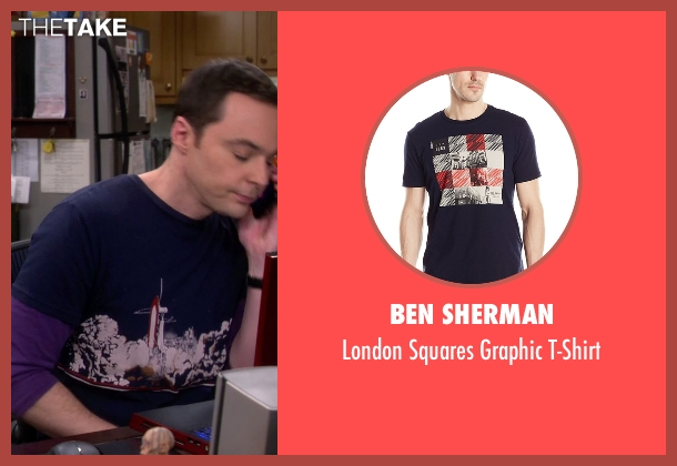 Ben Sherman blue t-shirt from The Big Bang Theory seen with Sheldon Cooper (Jim Parsons)