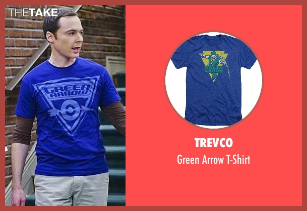 Trevco blue t-shirt from The Big Bang Theory seen with Sheldon Cooper (Jim Parsons)