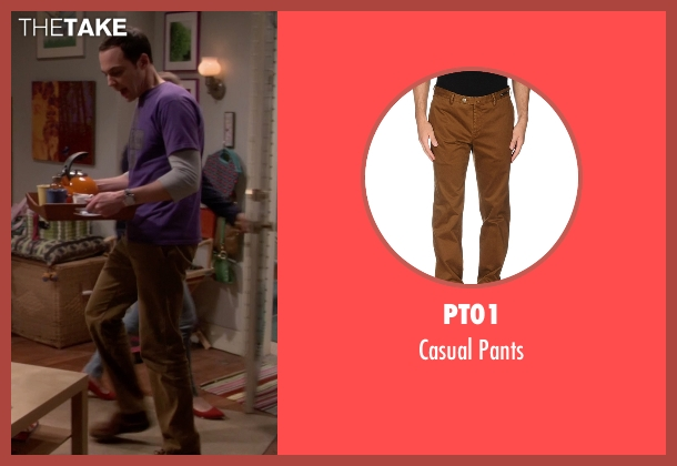 PT01 brown pants from The Big Bang Theory seen with Sheldon Cooper (Jim Parsons)