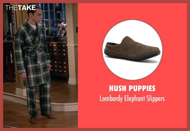 Hush Puppies brown slippers from The Big Bang Theory seen with Sheldon Cooper (Jim Parsons)
