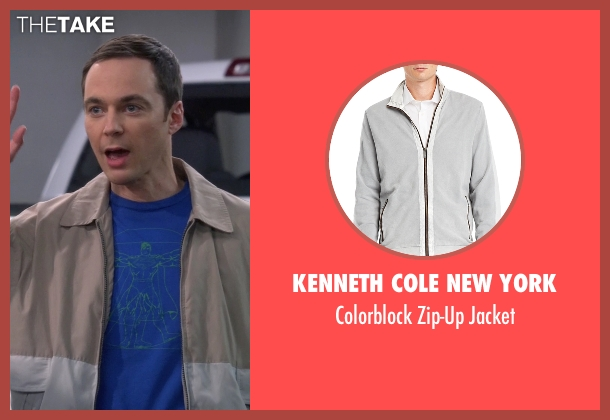Kenneth Cole New York gray jacket from The Big Bang Theory seen with Sheldon Cooper (Jim Parsons)