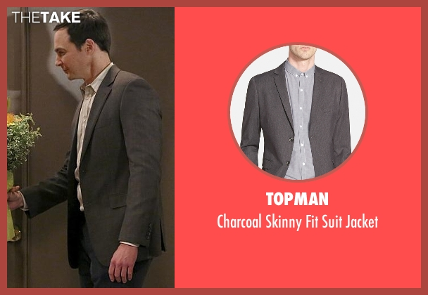 Topman gray jacket from The Big Bang Theory seen with Sheldon Cooper (Jim Parsons)